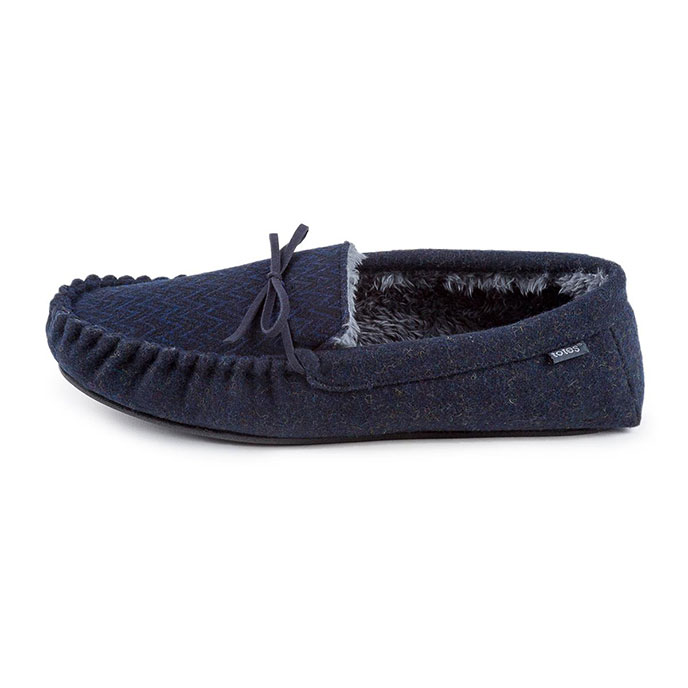 totes Mens Zig Zag Moccasin Slippers Navy