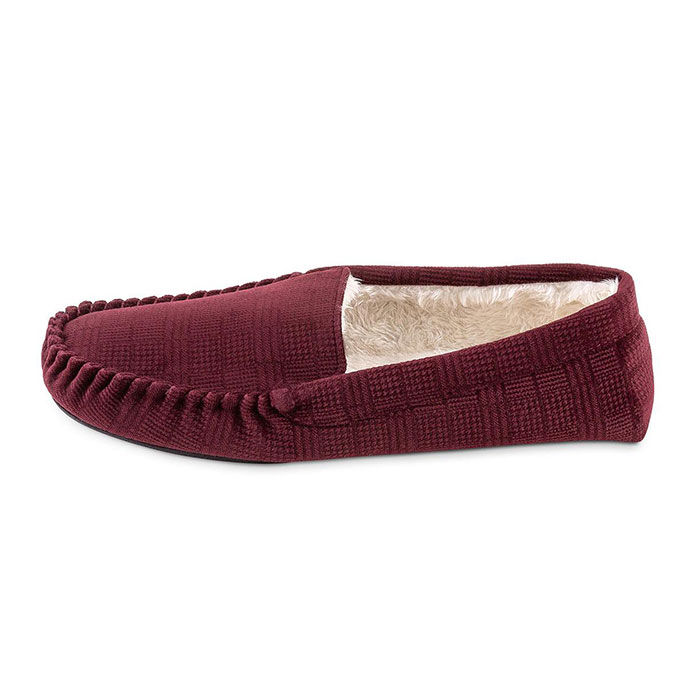 totes Mens Velour Moccasin Slipper with Sherpa Lining Burgundy