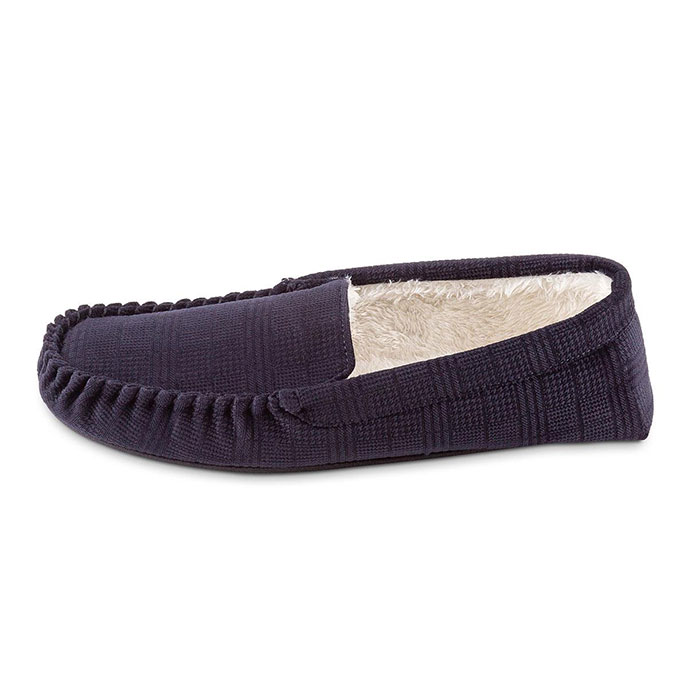 totes Mens Velour Moccasin Slipper with Sherpa Lining Navy