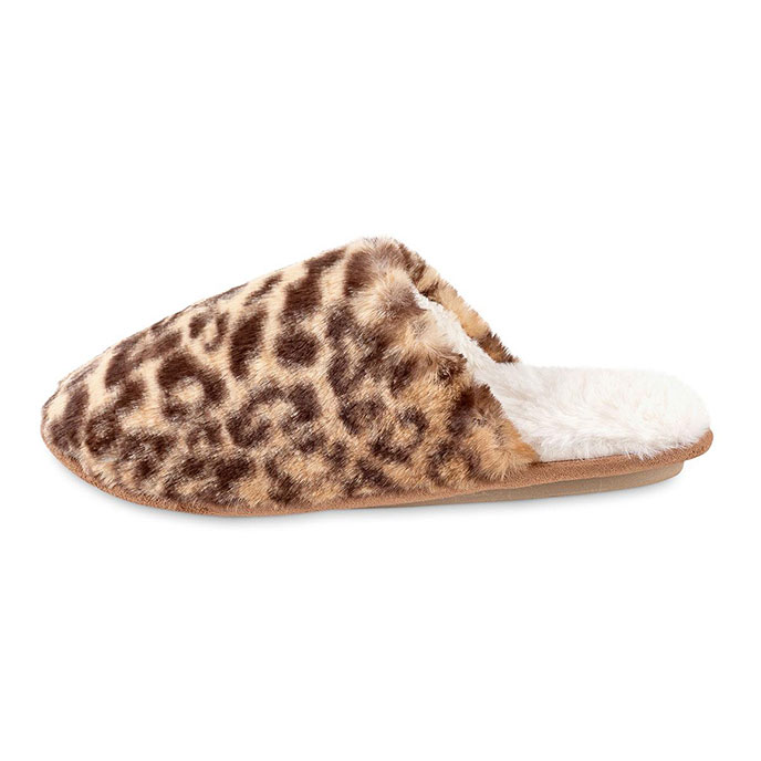 totes Ladies Leopard Fur Mule Slipper Leopard