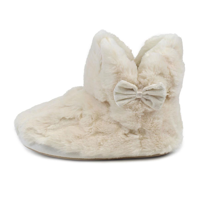 totes Ladies Textured Fur Bootie Slippers Cream