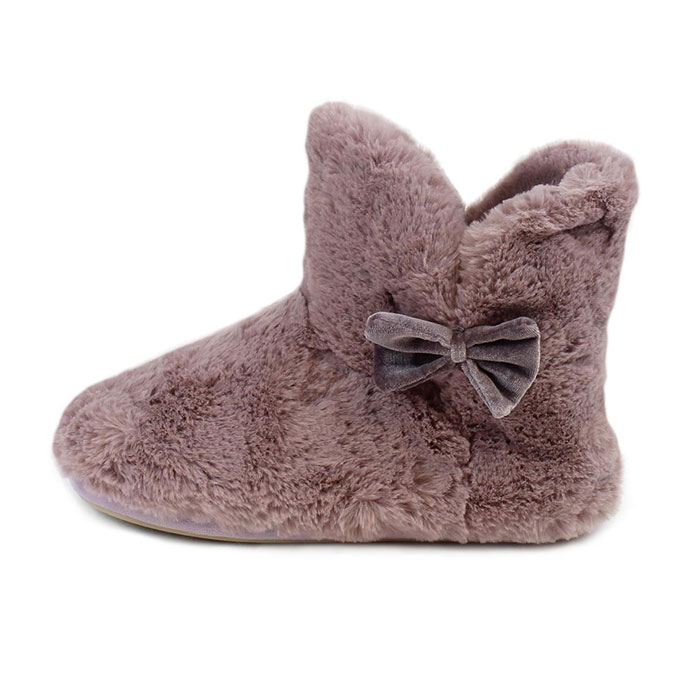 totes Ladies Textured Fur Bootie Slippers Mink
