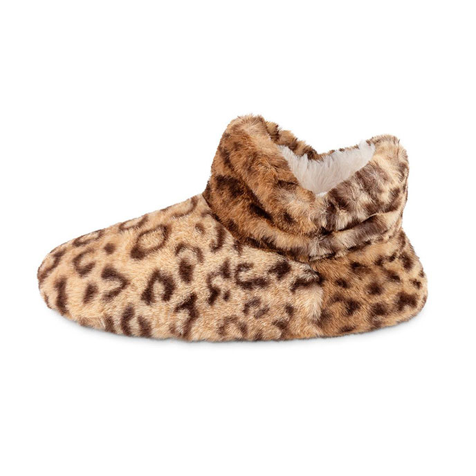 totes Ladies Leopard Fur Bootie Slipper Leopard