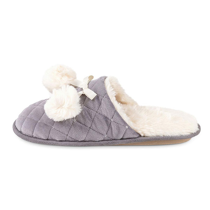 totes Ladies Quilted Mule Slipper With Fur Lining Grey