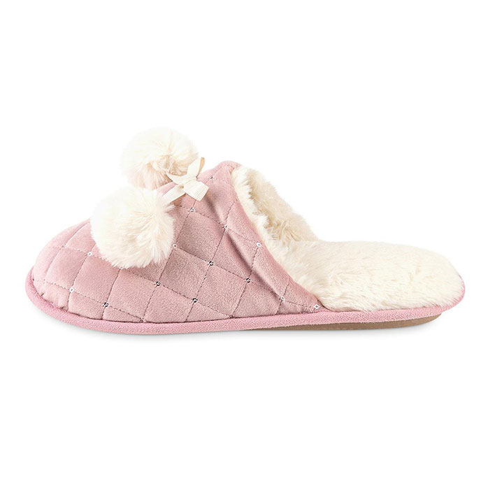 totes Ladies Quilted Mule Slipper With Fur Lining Pink