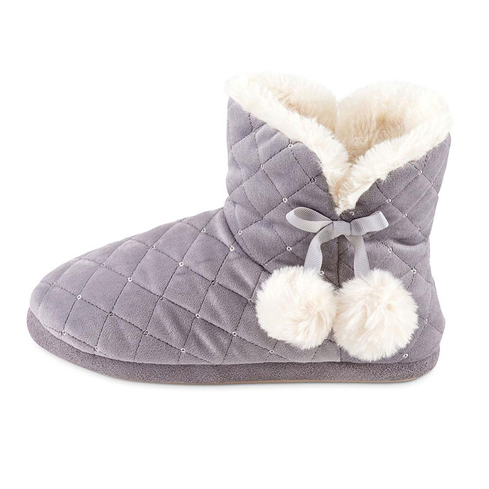 totes Ladies Quilted Bootie Slipper With Fur Lining Grey