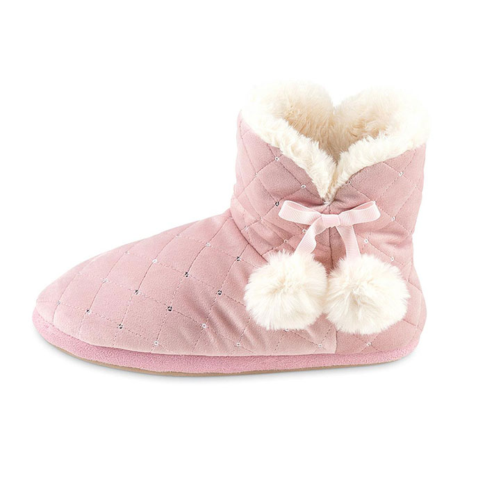 totes Ladies Quilted Bootie Slipper With Fur Lining Pink