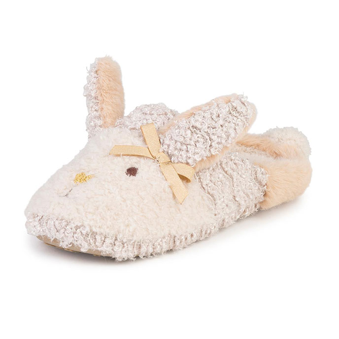 f0122356319 totes Ladies Novelty Rabbit Mule Slippers Beige Extra Image 1