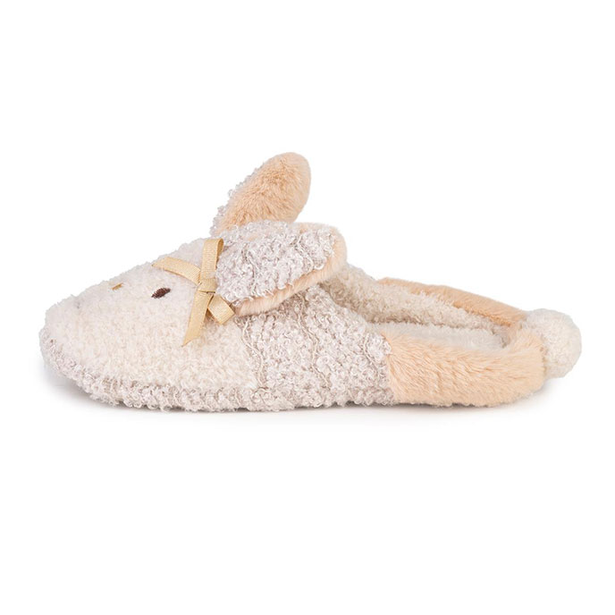 935a24fee5a totes Ladies Novelty Rabbit Mule Slippers Beige Extra Image 2