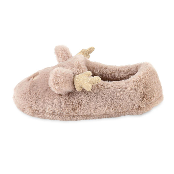 totes Ladies Novelty Reindeer Mule Slipper Brown