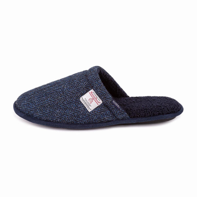 totes Mens Harris Tweed Mule Slipper Navy