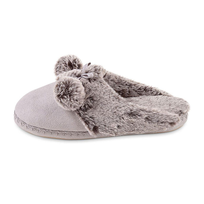 totes Ladies Suedette Fur Mule Slipper Grey
