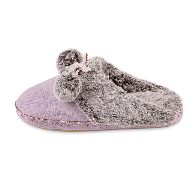 totes Ladies Suedette Fur Mule Slipper Lilac