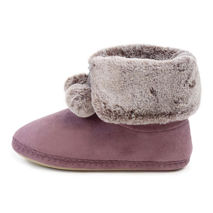 totes Ladies Suedette Fur Booties Mauve
