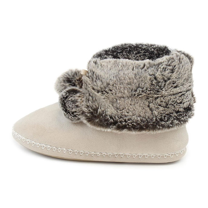 totes Ladies Suedette Fur Booties Natural