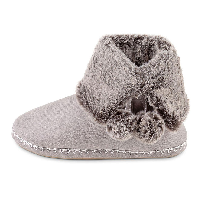 totes Ladies Suedette Fur Bootie Slipper Grey