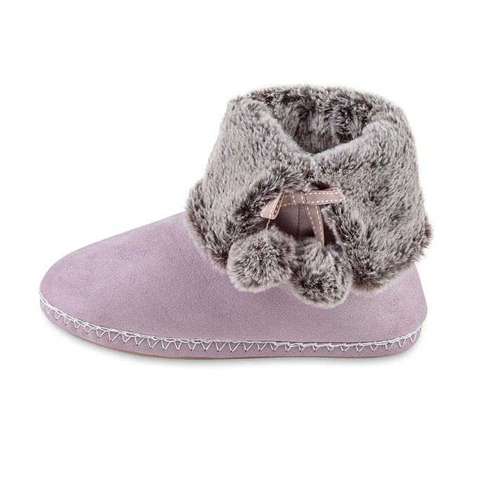 totes Ladies Suedette Fur Bootie Slipper Lilac