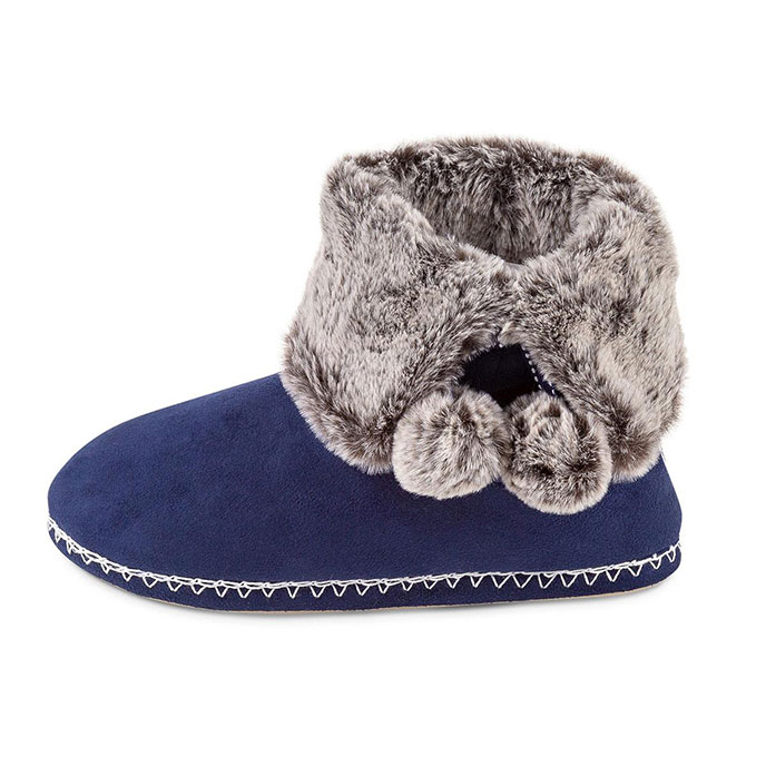 totes Ladies Suedette Fur Bootie Slipper Navy