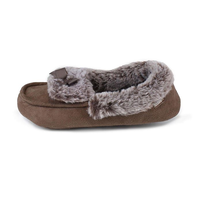 totes Ladies Suedette Fur Moccasin Slippers Mink