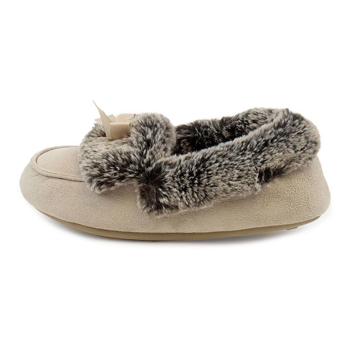 totes Ladies Suedette Fur Moccasin Slippers Natural