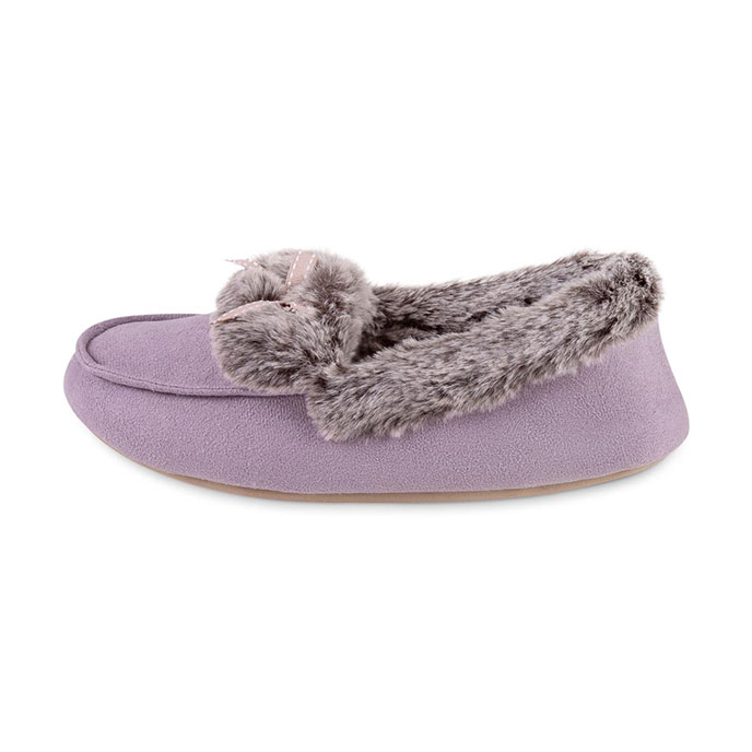 totes Ladies Suedette Fur Moccasin Slipper Lilac