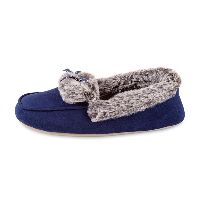 totes Ladies Suedette Fur Moccasin Slipper Navy