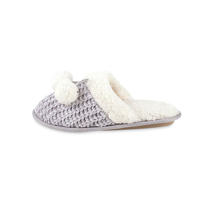 totes Ladies Chenille Knitted Mule Slipper Grey