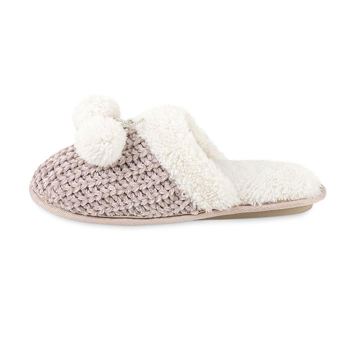 totes Ladies Chenille Knitted Mule Slipper Pink