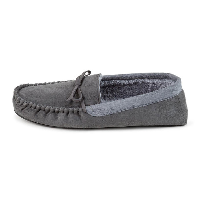 totes Mens Suedette Moccasin Slippers Dark Grey/Light Grey