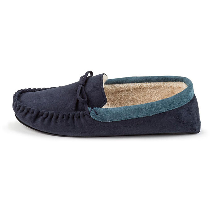 totes Mens Suedette Moccasin Slippers Navy/Blue