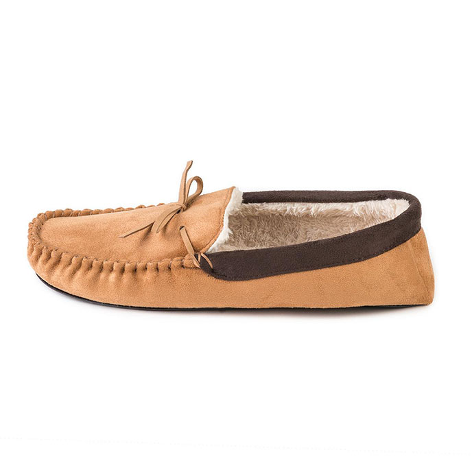 totes Mens Suedette Moccasin Slippers Tan