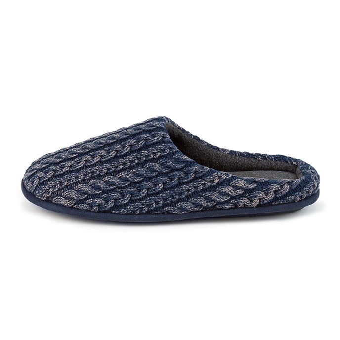 totes Mens Acid Wash Cable Mule Slippers Navy/Grey