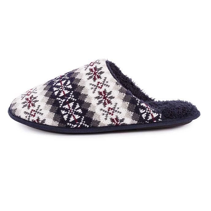 totes Mens Fair Isle Knit Mule Slippers Multi
