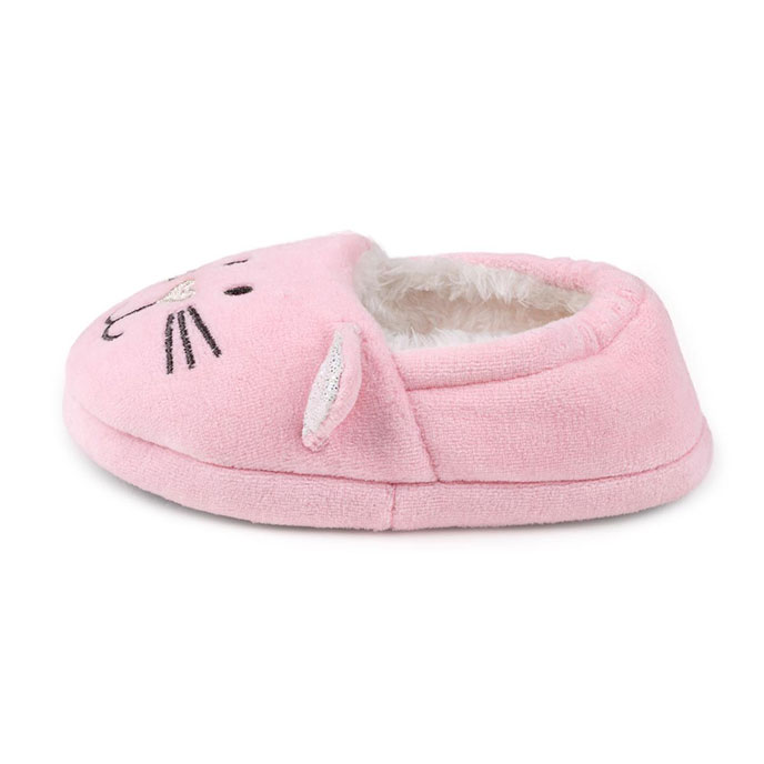 totes Childrens Slippers Pink Cat