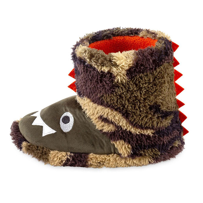 totes Childrens Novelty Bootie Slipper Dinosaur