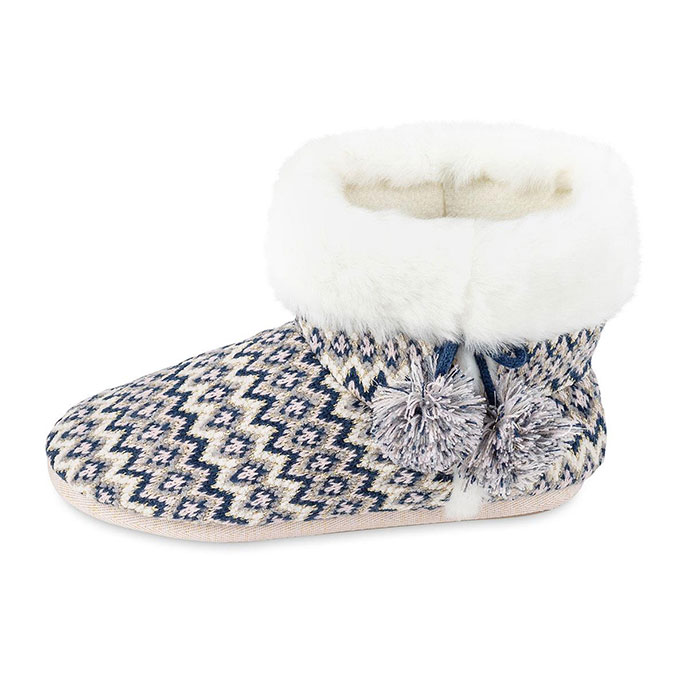 totes Ladies Fairisle Knitted Bootie Slipper Navy Multi