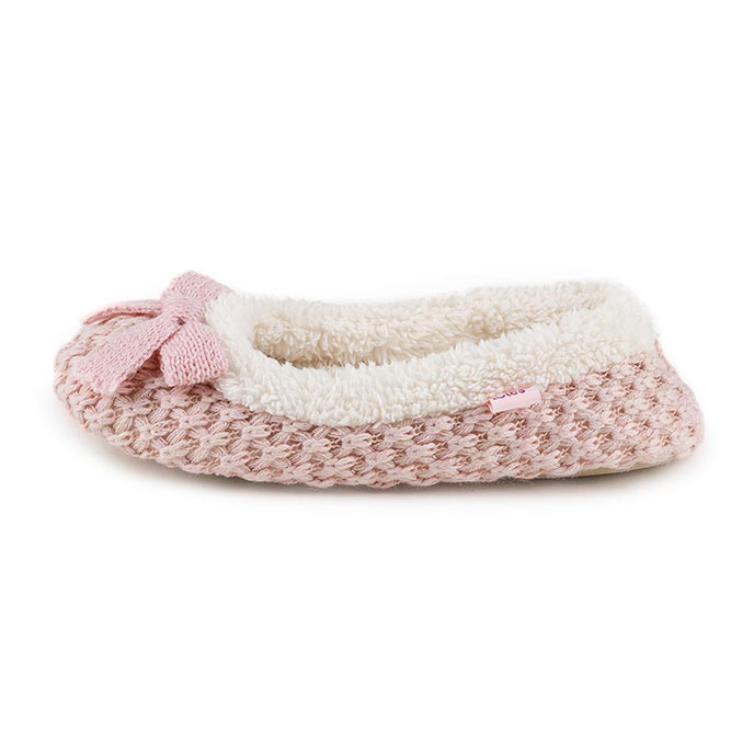 totes Ladies Waffle Knit Ballet Slippers Pink
