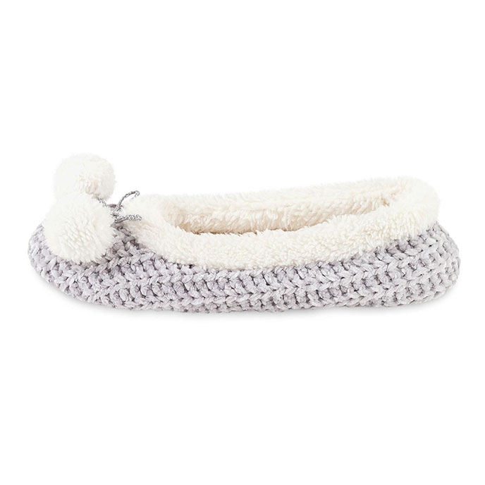 totes Ladies Chenille Knited Ballet Slipper Grey