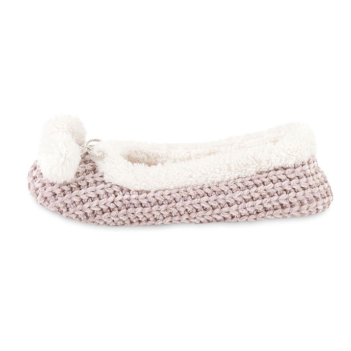 totes Ladies Chenille Knited Ballet Slipper Pink