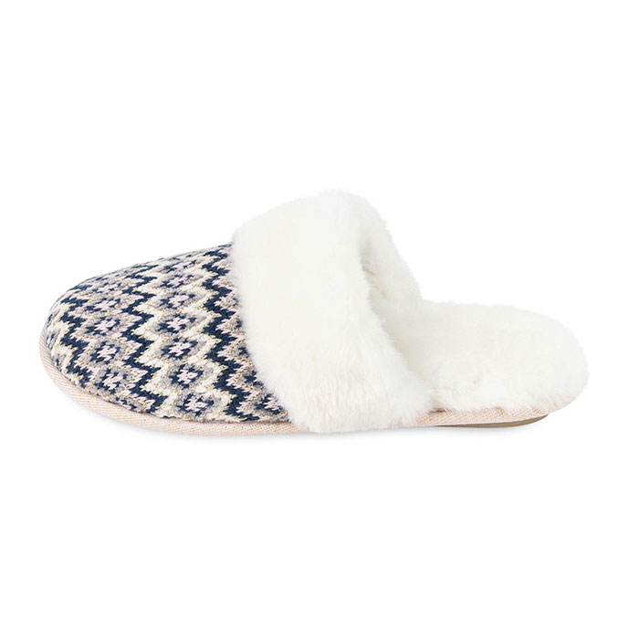 totes Ladies Fairisle Knitted Mule Slipper Navy Multi
