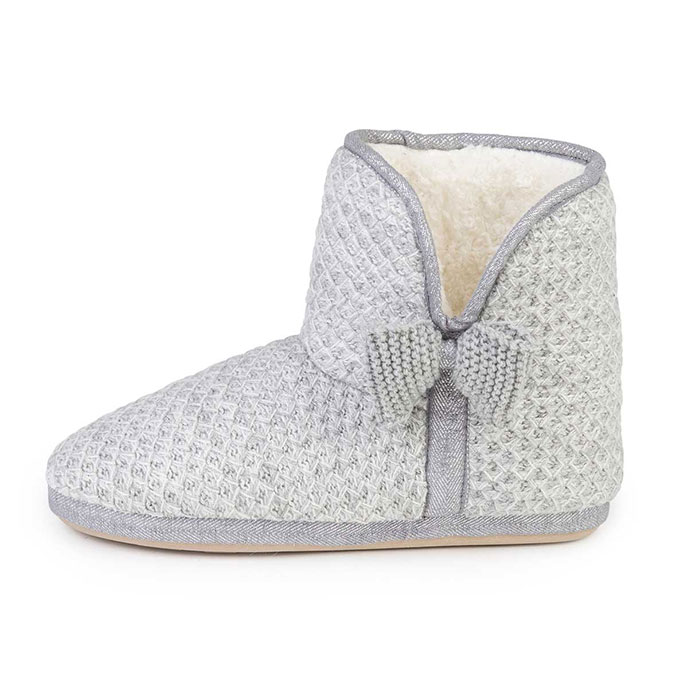 totes Ladies Lurex Sparkle Knit Booties Grey
