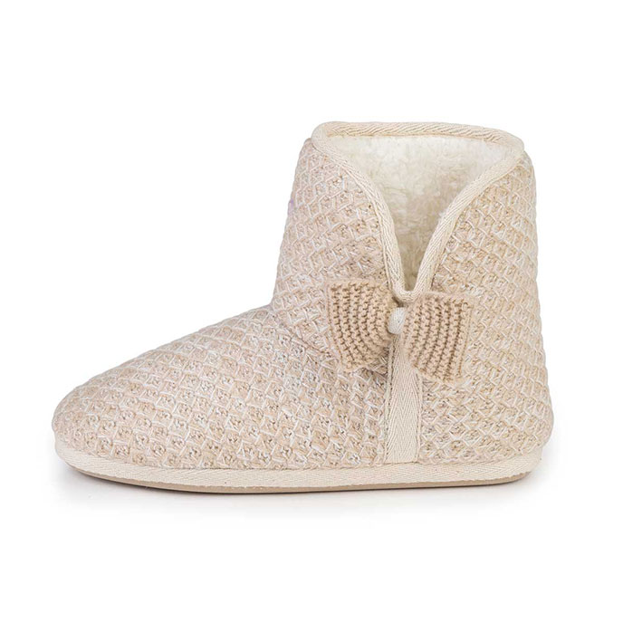 totes Ladies Lurex Sparkle Knit Booties Natural