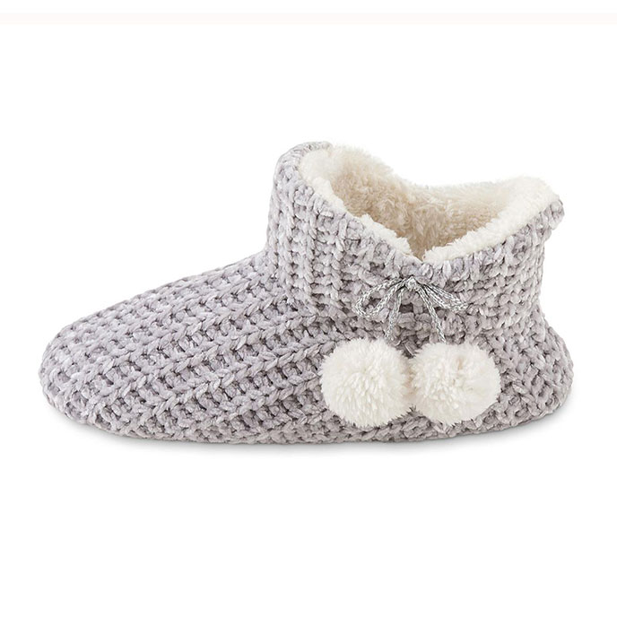 totes Ladies Chenille Knitted Bootie Slipper Grey