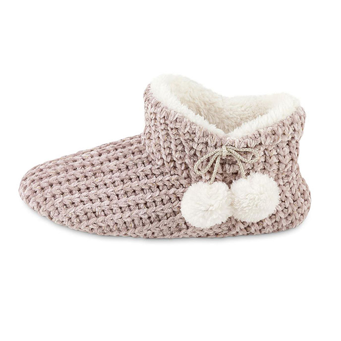 totes Ladies Chenille Knitted Bootie Slipper Pink