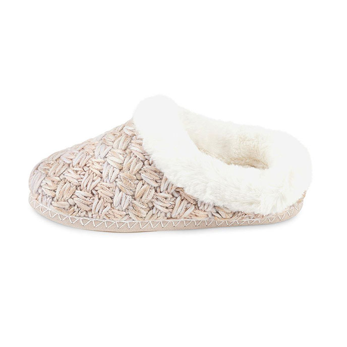 totes Ladies Chunky Knit Mule Slipper Cream