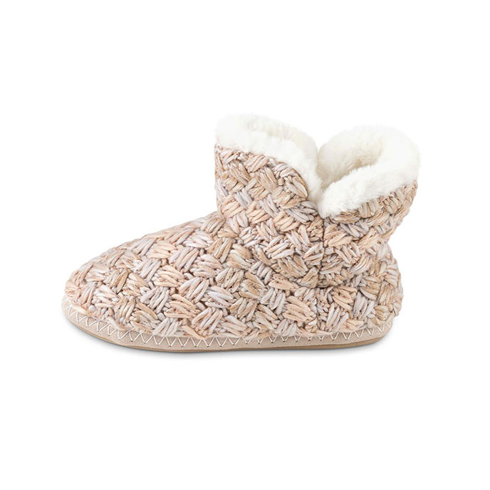totes Ladies Chunky Knit Bootie Slipper Cream