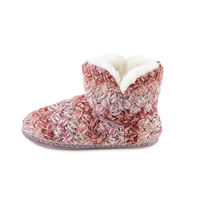 totes Ladies Chunky Knit Bootie Slipper Pink