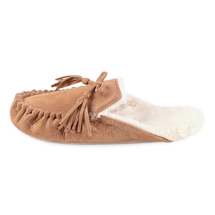 totes Ladies Sparkle Backless Moccasin Slipper Chestnut
