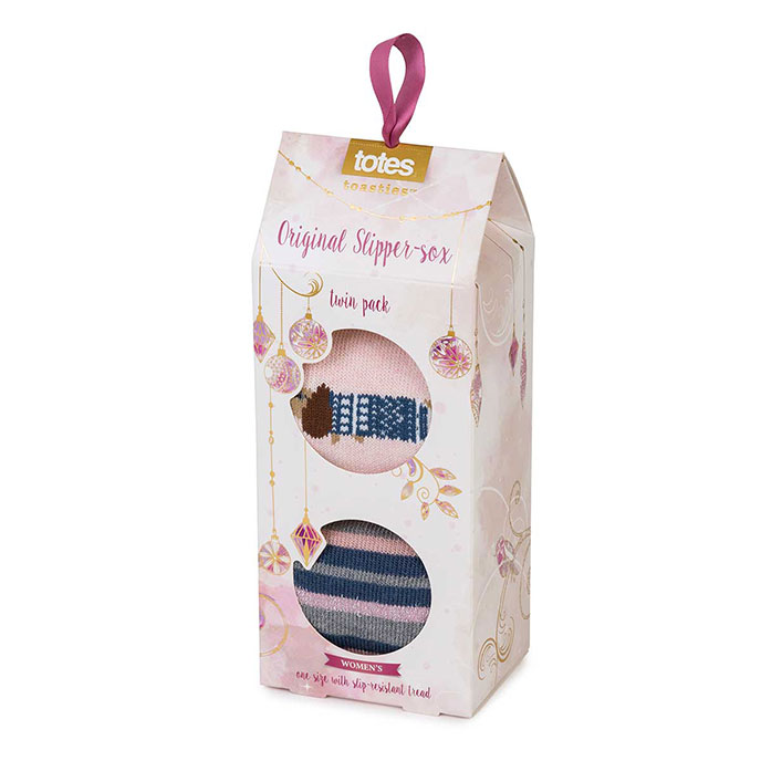44472f033594 totes Ladies Original Slipper Socks (Twin Pack) Sausage Dog   Stripe Extra  Image 3