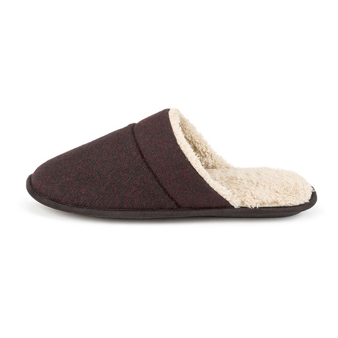 totes Mens Zig Zag Mule Slippers Wine